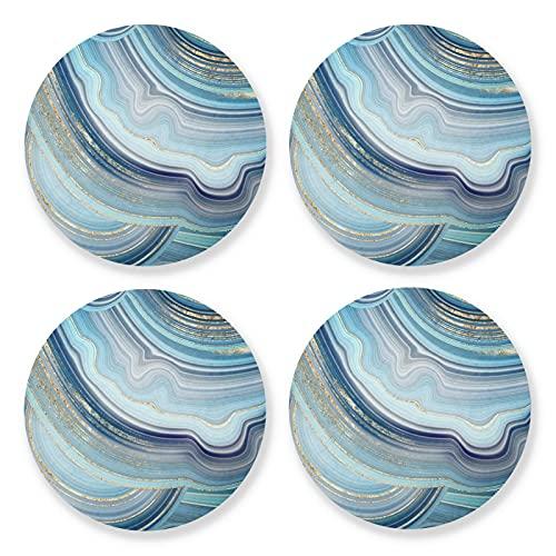 xigua 4 posavasos redondos para bebidas, resistentes al calor, con base de corcho, ligeros para mesa, tapete protector de mesa, para tazas, remolinos de mármol azul