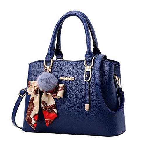 YAANCUN Damen Retro Henkeltasche Handtasche Schultertasche Shopper Mit Schultergurt (gold metallteile sind) Dunkel Blau