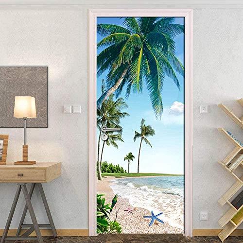 Adesivi per porte 3D Autoadesivo Albero di cocco Spiaggia Mare Paesaggio Adesivo murale Carta da parati Decalcomanie per porte Vinile rimovibile per cucina Ufficio Bambini Camera dei bambini Camera