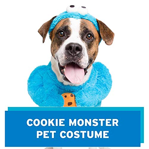 Pet Krewe Unleash The Parade Cookie Monster Dog Costume Sesame Street Pet Costumes for Medium Dogs or Cat Outfit