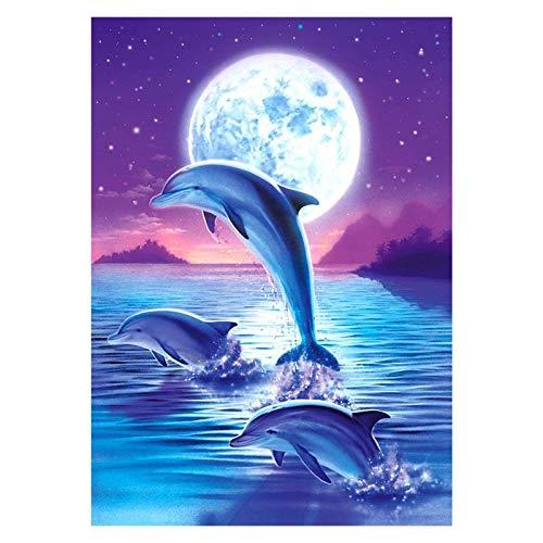 YZL DIY 5D Diamond Painting by Number Kit, Adultos Reducido Redino Rhinestone Diamond Pintings Pinturas Artes Cross Stitch para decoración de Habitaciones - 3 Delfines saltadores (Size : 50x70cm)