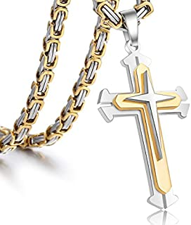 Trendsmax Cross Pendant Necklace Mens Boys Stainless...