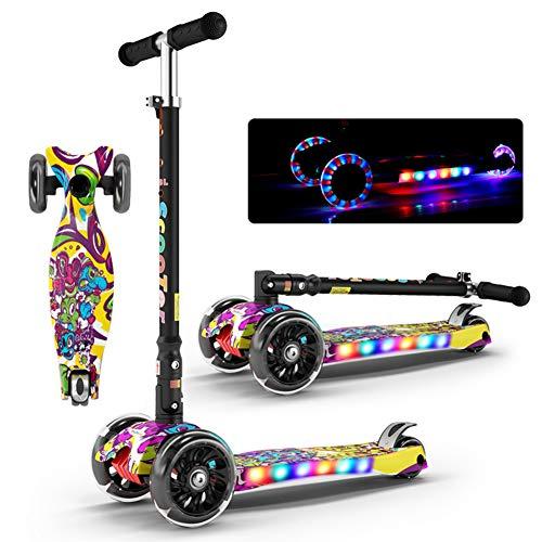 Monopattino Pieghevole Scooter 3 Ruote per Bambini, Altezza Regolabile, Design Pieghevole E Leggero, Monopattino per Adulti E Bambini,B