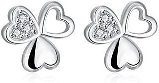 1 Pair Classic Ear Studs Simple Lucky Clover Crystal Earrings Jewelry Zircon