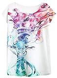 FUTURINO Damen Liebe Giraffe Kiss Print Rundhalsausschnitt Kurzarm T-Shirt Top Tees, Hirsch, S