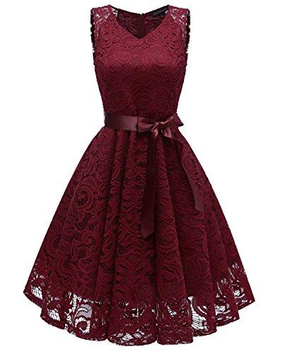 Laorchid Knielang cocktailkleid festliches Kleid a Linie Elegante Sommerkleid Damen Vintage Spitzenkleid Retro v Ausschnitt Kleid Spitze Burgundy S