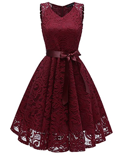 LA ORCHID Laorchid Damen Spitzen Rockabilly Kleid Abendkleider Cocktailkleid festlich Knielang Burgundy M