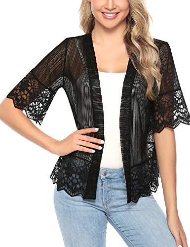 Aibrou Short Sleeve Cardigans Lace Boleras Shrugs for Women Dress S-XXL (Black, XL)