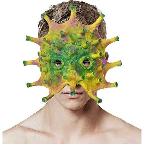 wcflyp Halloween Virus Maschera Coronavirus Morbido Orrore Adulti Unisex Cosplay Festa Costume Mardi Gras (Giallo Verde)