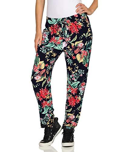 E & D Damen Strandhose mit floralem Allover Print leichte Sommer Freizeithose Shirthose