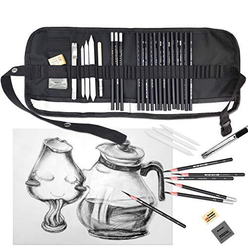 YLX Skizze Bleistift Set, Skizzierstifte 24 Stück Künstler Art Kit für Skizzen Zeichnen Grafitti mit Kohlestifte Papierstifte für Kinder Erwachsene