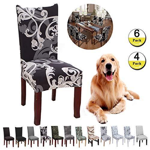 JunYito Stuhlhussen 4er 6er Set Elastische Stuhlhussen Universal Stretchhusse Stuhlbezug Stretch für Stuhl Esszimmer (E-schwarz/Braune Blume, 4 Stücke)