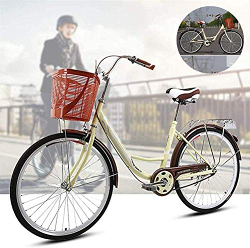 Women's Bikes, 24' Traditional Classic Ladies Lifestyle Bike Girls' Heritage Bicycle with Basket Retro Urban Road Bike Cruiser Bike Dutch Style Frame Cycle for Student Cycling Riding,Beige