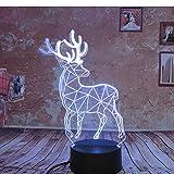 3D Illusion Lampe,Nachtlicht 3D Hirsch Modell Geschenk Usb 7 Farben Ändern Led Nachtlicht 3D Tisch Schreibtisch Touch Lampe Kinder Kinder Geschenk