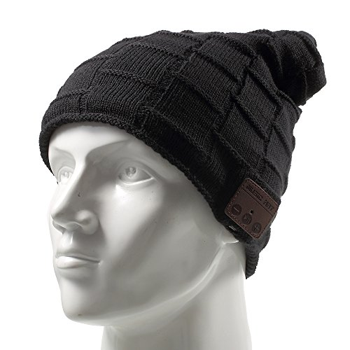 Wireless Music Hat, Knit Winter Warm Beanie w/ Built-in Compatible with Bluetooth Stereo Headphone, Microphone for Hands-Free Calling - Black