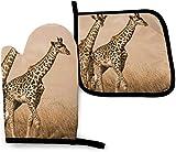 Dos jirafas corriendo en la estéril cocina, guantes de horno y soportes para ollas,...