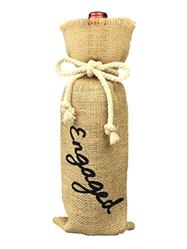 OYAMIHUI Engagement Party Decorations, Burlap Wine Bag Engagement, Burlap Wine Bottle Gift Bag with Painting (Engaged)