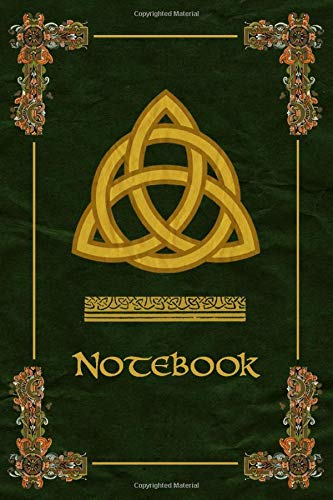 Notebook: Celtic Trinity Knot Symbol Ornaments Green Journal, Wide Ruled 110 pages (6.14' x 9.21')