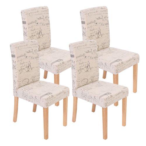 Mendler 4X Esszimmerstuhl Stuhl Küchenstuhl Littau ~ Textil mit Schriftzug, Creme, helle Beine