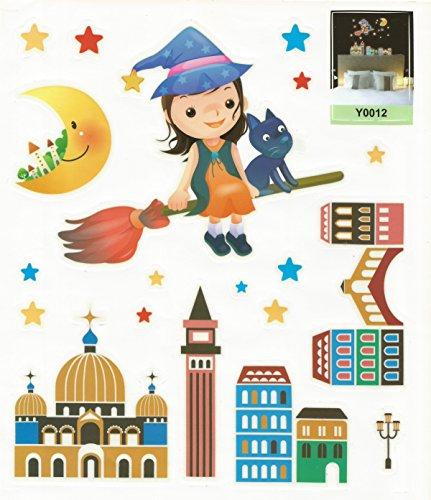 Sternenreich ***Neu Fluoreszierendes Kinderzimmer Wandtattoo Hexe, Leuchtende Wandsticker mit Starker Leuchtkraft im Comic-Style #6