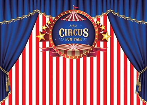 AIIKES 2.1Mx1.5M/7x5FT Cumpleaños Circo Telón de Fondo de la Fotografía Tienda de la Raya Carnaval Fondo de Fotografia Bebé Ducha Fiesta Decoración para Personalizar 11-083