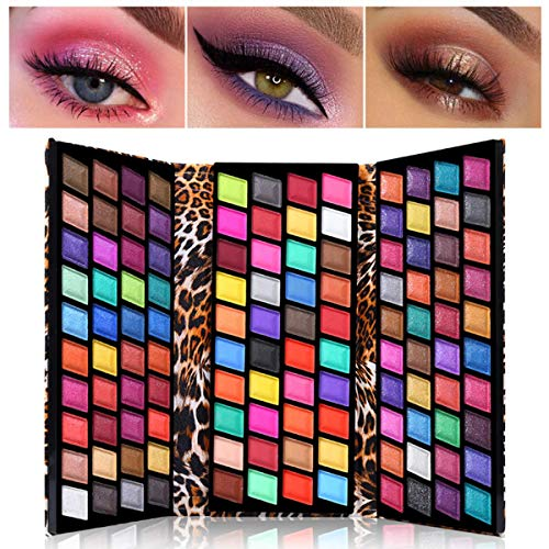 UCANBE 120 Farben Lidschatten-Palette, pigmentierte matte und schimmernde glitzernde Metallic-Make-up-Palette wasserdichte Leoparden Brieftasche Form Nude Eyes Schatten