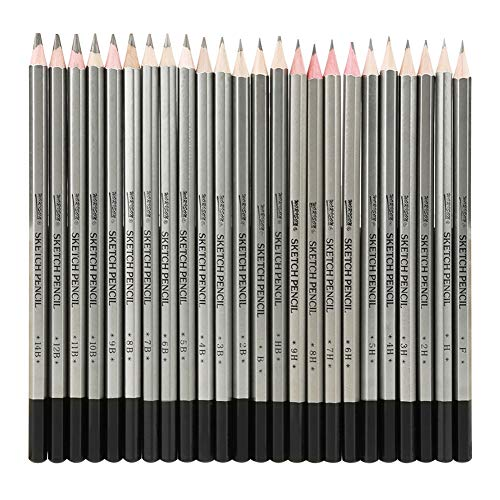 24Pcs 9H-14B Lápices de dibujo, Dibujo a lápiz Lápiz de grafito Lápiz de color no tóxico Dibujo a lápiz Lápices para bocetos, pinturas, dibujos artísticos Regalo de artesanía Artista de regalo