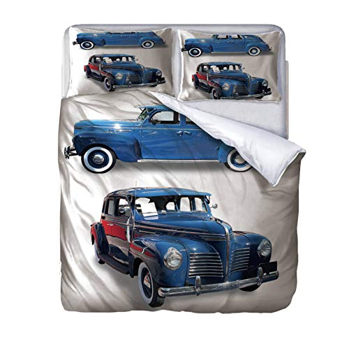 AOUAURO King size Duvet Cover Set car Bedding Set with Hidden Zipper Microfiber Bedding Quilt Cover with 2 Pillowcases for Children Kids Teens Adults 230x220cm 3D Printed 3PCS Set