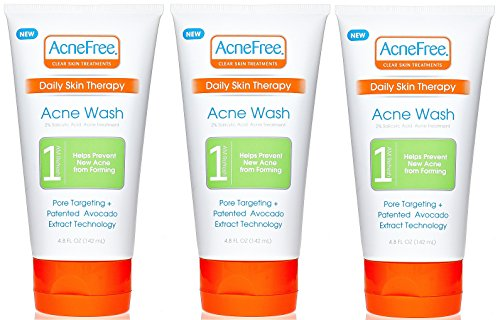 AcneFree Daily Acne Face Wash 4.8 oz with 2% Salicylic Acid, Facial Cleanser to Help Prevent Acne Whiteheads and Blackheads plus Avocado Extract
