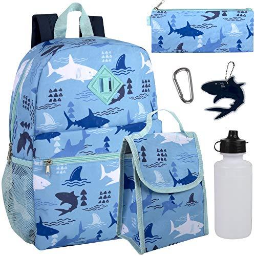 Jungen 6-in-1 Rucksack Set mit Lunchtasche, Federmäppchen und Zubehör (Seafaring Sharks)