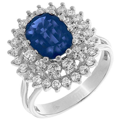 ORPHELIA–Anillo de mujer 750oro 36diamantes 1.20Carat con zafiro 1.20Carat Talla 54(17.1) RD de 33265
