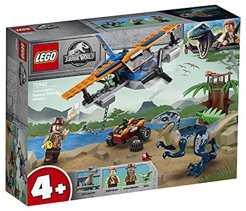 LEGO 75942 JurassicWorld Velociraptor:MisióndeRescateenBiplano, Juguete de...