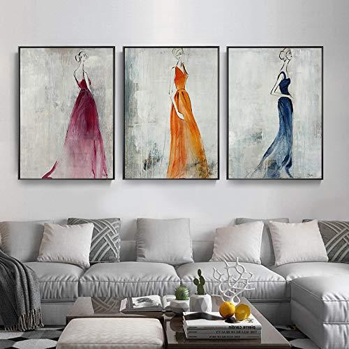 Gymqian Mujeres en Vestido Cartel Vintage Arte de la Pared Pintura de la Lona Impresión Minimalista Cuadros Decorativos de Pared para la decoración de la Sala de Estar Mural-50x75cm 3pcs Sin Marco