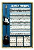 Accords de Guitare Poster pour Apprendre à Jouer électrique et Acustic Broches Tableau mémo en liège Cadre chêne–96,5x 66cm (Environ 96,5x 66cm)