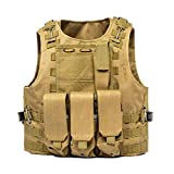 AKARMY Outdoor Camo Assault Army Shooting Hunting Vest,Adjustable Tactical Military Vest,Airsoft Paintball with Removeable Pouche 0888 Tan