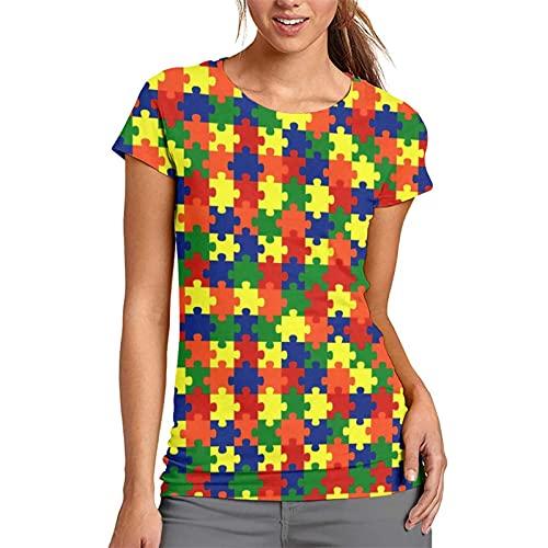 Puzzle Autism Awareness - Camiseta informal de manga corta para mujer, cuello redondo, cómoda