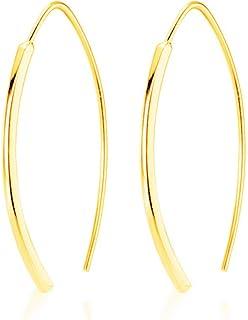 Minimalist Arc Bar Dangle Drop Earrings for Women Girls Men Sterling Silver Geometric Rectangular Simple Hoop Cuff Curving Threader Hypoallergenic Stud Personalized Jewelry Gifts