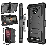 Moto Z3 Case, Motorola Z3 Case, 2018 Moto Z3 Play Holster Clip, Njjex [Nbeck] Shockproof Heavy Duty Built-in Screen Protector Rugged Locking Swivel Belt Clip Kickstand Hard Shell Cover [Black]