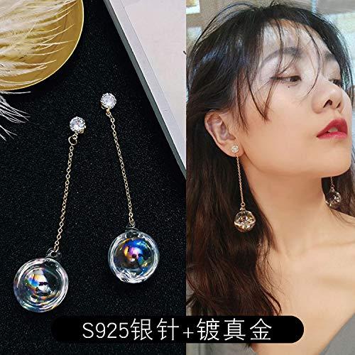 Chwewxi Transparente Wasserball-Glaskugelohrringe Koreanisches Temperament Lange hängende Ohrringohrringe Frau, farbige Glaskugel (überzogenes Gold + Silberne Nadel)