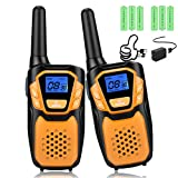 Walkie Talkies for Kids Rechargeable, Easy to Use Family Walky Talky Toy for 3-12 Years Old Boys and Girls Birthday for Camping Hiking Outdoor with Regular Micro-USB Charger/Battery