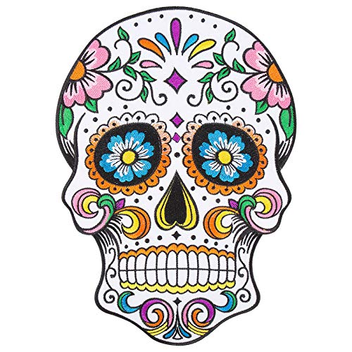 """Large Sugar Skull Iron on Patches, 7.1""""x10"""" Floral Calavera Day of The Dead Embroidered Jacket Patches, Día De Los Muertos Skull Motorcycle Appliqued Patch on Jeans"""