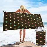 Marijuana Leaf Jamaica Beach Towel Blanket Quick Fast Dry Absorbent Towel for Beach Pool Bath Sports - 27.5in X 55in/31.5inx63in
