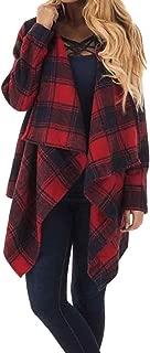 Ladies Plaid Coat Short Parka Patchwork Outerwear Waterfall Cardigan Long Sleeve Outerwear Warm Winter Coat