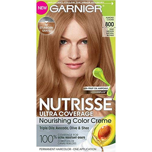Garnier Nutrisse Ultra Coverage Hair Color, Deep Medium Nautral Blonde (Almond Cookie) 800 (Packaging May Vary), Pack of 1