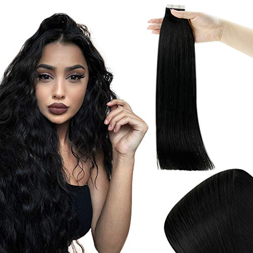 RUNATURE Tape Extensions Klebeband 35cm 14 Zoll 40g 20 Stück Tape in Extensions Echthaar Farbe 1 Pechschwarz Haarverlängerung Echthaar