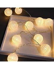 Lichtsnoer van katoen met bolletjes, 3,7 m, 20 leds, katoenen bollen, lichtketting, voor binnen, Kerstmis, thuis, kinderkamer, balkon, bruiloft, tuin, feestdecoratie