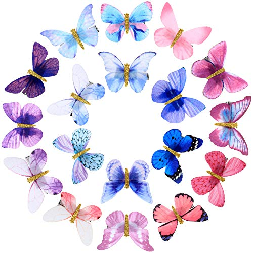 18 Stücke Schmetterling Haarspangen Glitzer Haarspangen Schmetterling Snap Haarspangen für Jugendliche Damen Haarschmuck (Farbe Set 2)