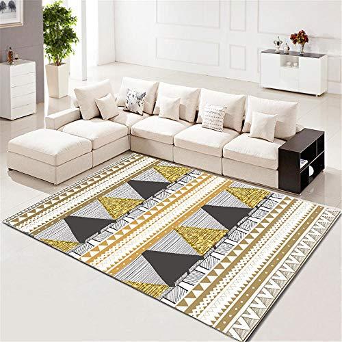 WQ-BBB Fácil De Limpiar Alfombras Pie De Cama Diseño Geométrico De Estilo Moderno Amarillo Blanco Negro Minimalismo Alfombras De Juegos para Niños 180X280cm