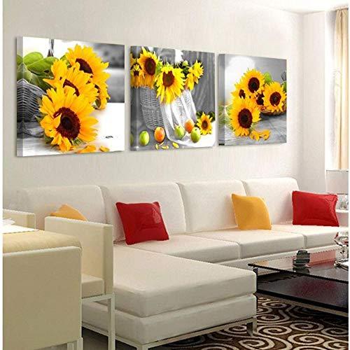 Gemälde Bilder auf Leinwand, 3-teilig, gelbe Sonnenblumen, Wandbilder für Wohnzimmer, Dekoration, Leinwand, Gemälde, 30 x 30 cm, ohne Rahmen, 3 Stück