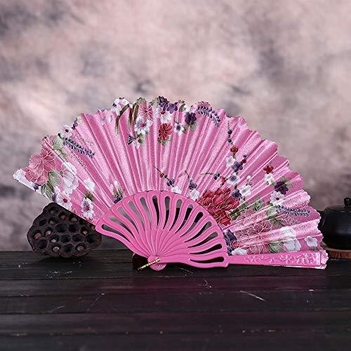 ZYHMXM Folding Fan, Vintage Kant Chinese Stijl Dans Bruiloft Hand Fans Feestjurk Accessoires Roze Vouwen Zomer Held Bloemen Fan